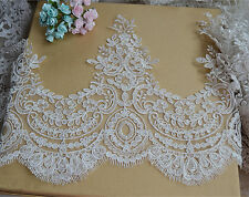 """Bridal Embroidered Lace Edging Ivory Floral Corded Wedding Trimming Ribbon 10.6"""""""