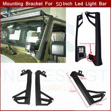 "Pair 2007-15 Jeep Wrangler JK 50""Led Light Bar Steel Windshield Mounting Bracket"