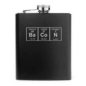 7oz Stainless Steel Liquor Hip Flask Bacon Periodic Table