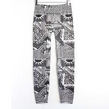 Black and white printed leggings geometric tribal M medium Just one stretch