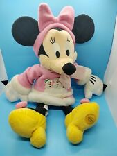 """Disney Store Exclusive Patch Minnie Mouse Pink Winter Outfit 16"""" Plush EUC Rare"""