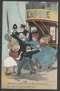 Postcard Edwardian Comic a Good Time at Pantomime tram 1907 Sherborne postmark