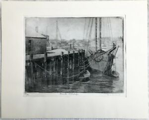 """Don Swann Signed & Numbered Ltd. Edition 16"""" x 20"""" Gloucester Fish Wharf Etching"""