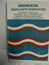 Honda Engines GX240 GX270 GX340 GX390 Owner's Manual 1990
