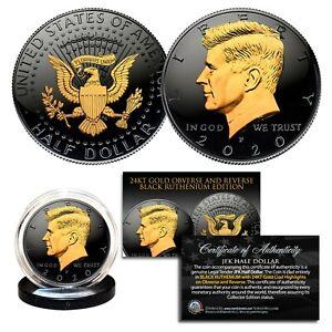 Black RUTHENIUM 2020 JFK Half Dollar U.S. Coin w/ 2-SIDED 24K Gold (Philad MINT)
