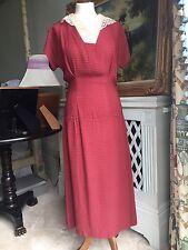 "Vintage 1920/30's Dress TexturedCotton Voile Brownish Raspberry Colour Waist 30"""