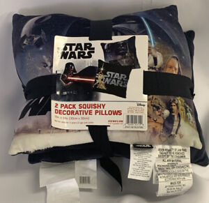"DISNEY STAR WARS 2-Pk Decorative Pillow NWT 12"" X 12"" Squishy Ultra Soft Black"