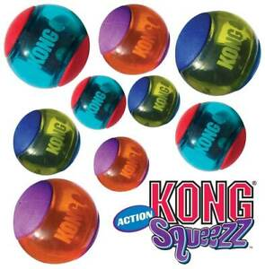 Kong Dog Squeezz Action Ball Red - S, M, L Squeaky Fetch Ball 2 & 3 packs