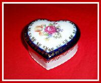VINTAGE PM-10 GDR-GERMANY PORCELAIN Heart Jewel Blue/White/Gold TRINKET BOX