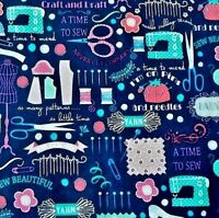 NAVY BLUE FABRIC WITH A DESIGN OF ALL THINGS SEWING - COTTON FABRIC F.Q.'S