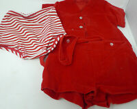 Vintage Retro Baby Clothes Outfit Red Suspender Top Pants Shirt Newborn 12#