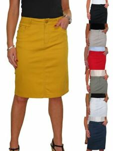 Ladies Stretch Jeans Style Back Slit Knee Length Pencil Skirt 10-20