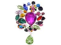 Silver Tone Multicoloured Beaded Teardrop Rhinestone Fashion Pin Brooch Jewelry