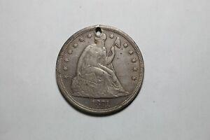 1871 Seated Silver Dollar W/ Hole