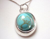 Turquoise Oval 925 Sterling Silver Necklace Corona Sun Jewelry