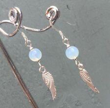 Opalite Wing Earrings & 925 Sterling Silver Ear Hooks Pagan Wicca Chakra Reiki