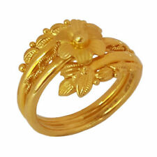 Fine Jewelry 22 Kt Real Solid Yellow Gold Flower Women Finger Ring Size 6 7 8 9