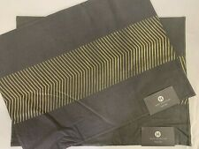 """HOTEL COLLECTION Placemats Lot of 2 NWT 14"""" x 19"""" 100% Linen Gray w/ Gold"""