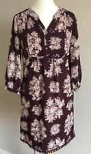 Lovely Ladies Monsoon Burgandy Floral Dress Size 10