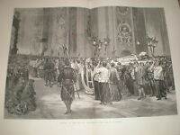 Funeral of Pope Pius IX procession to tomb in St Peter's 1878 old print ref Y1