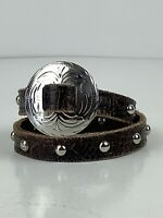 Genuine Brown Leather Double Wrap Studded Bracelet