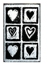 Hearts Rubber Stamp by Vintage Stamps Mounted on White Washed Wood Block