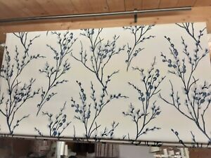 Roman Blind Laura Ashley Pussy Willow off White/Midnight fabric Made to measure)