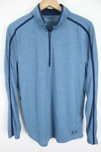 UNDER ARMOUR Mens sz Large Heathered Blue 1/2 Zip Fitted Heat Gear Pullover