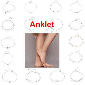 BAMOER Fine S925 Sterling Silver Adjustable Anklet Chain With CZ Charm for Women