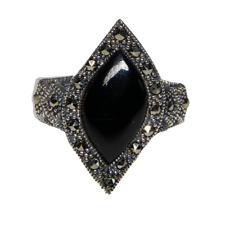 Onyx Marcasite Natural Gemstone Bling Ring 925 silver Sizes M-R feeanddave