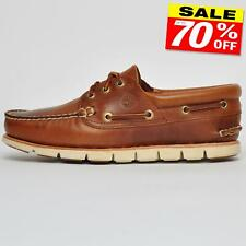 Timberland Tidelands Classic 3 Eye Moccasin Men's Leather Boat Deck Shoes Brown