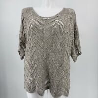 Eileen Fisher Woman Top Short Sleeve Open Knit Gray Zig Zag Print Size 3X