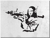 "BANKSY STREET ART CANVAS PRINT Da Vinci Mona Lisa Rocket 24""X 16"" poster #2"