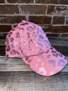 JUSTICE GIRLS KIDS CHEETAH PRINT PINK HAT BASEBALL CAP SHINY ANIMAL PRINT GUC