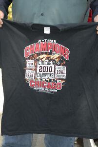 Chicago Blackhawks 4 time NHL champs t shirt madhouse on madison 2xl NM