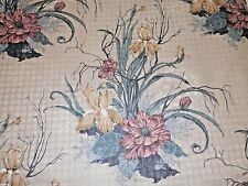 """BTY Fabric Vintage 5th Ave Floral 1987 Tan Bkgd Teal Gray Gold etc Linear 54"""" wd"""