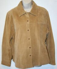 AMI Ladies Size Large Brown Suede Button Front Satin-lined Wind Shirt Jacket