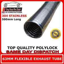 "63mm 2 1/2"" Flexible Polylock Stainless Steel Flexi Tube 1/2 Metre Exhaust"