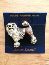 Austrian Crystal Lowchen Dog Lover Enamel Brooch Pin by Lanren-Spencer Laura