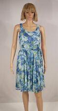 BETSEY JOHNSON Size 4 Cobalt Blue Floral Print Back V A-Line Belted Dress NEW