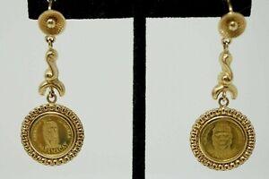 18K Yellow Gold 22K Caciques de Venezuela Guaicaipuro Coin Drop Dangle Earrings