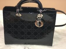 aca1b8150d03 Lady Dior Black Patent Leather Silver Hardware Large Bag