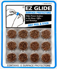 "3 CARDS EZ Glide 1"" Brown Circle Wood Floor Surface Protectors (Total 36 Pieces)"