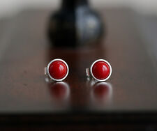 925 Sterling silver stud earrings with natural Sea bamboo coral gemstones