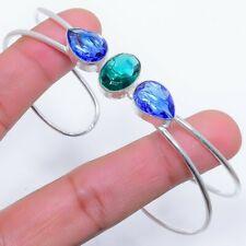 Indicolite Tourmaline 925 Sterling Silver Jewelry Cuff Bracelet Adst. 8355