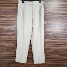 CARAVELLI Superior 150s Dress Pants 34 Cream Tan Pinstripes Golf