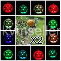 Set of 2 Solar Powered Pumpkin Round Garden Yard Stake Pathway Light LED Sun i