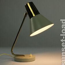 alte Messing+Grau Schreib Tisch Lese Leuchte 50er 60er Jahre Lampe alt & vintage