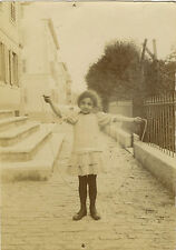 PHOTO ANCIENNE - VINTAGE SNAPSHOT - FILLE JEU CORDE À SAUTER -GIRL TOY JUMP ROPE