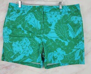 Lands End Womens Blue Green Tropical Floral Print  Mid Rise Shorts Sz 18 NWOT